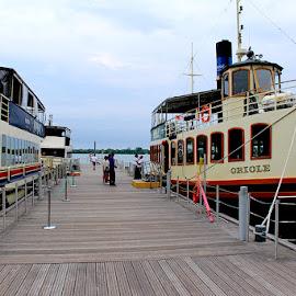 Oriole, Toronto Waterfront by Ronnie Caplan - Transportation Boats ( water, docked, wood, boats, lake, windows, people, passengers, sky, smokestacks, blue, levels, wharf )