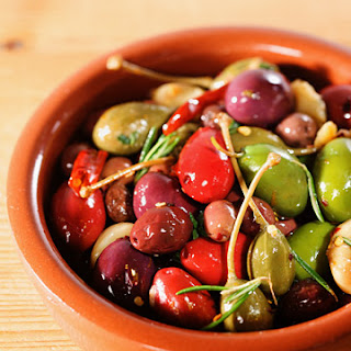 Mixed Olives with Caper Berries