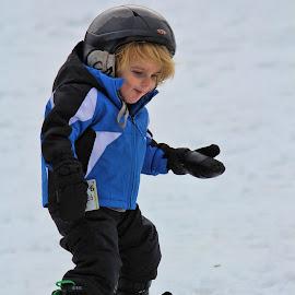 Damian learns to snowboard  by Janet Aguila Krause - Sports & Fitness Snow Sports ( snowboard, snow summit, san bernardino, big bear, snowboarding )