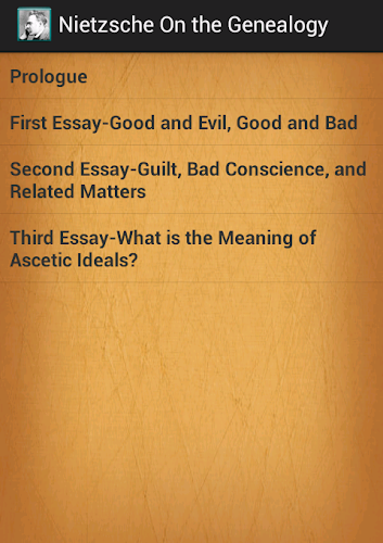 nietzsche genealogy of morals essay questions Study questions, project ideas and discussion topics based on important themes running throughout on the genealogy of morals by friedrich nietzsche great supplemental information for school essays and projects.
