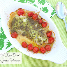 Baked Rock Fish with Green Harissa