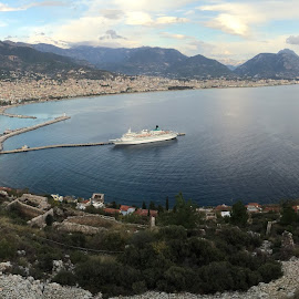 Alanya Bay, Turkey by Krister Laitinen - Landscapes Travel ( water, mountains, bay, ship, alanya, mediterranean, harbour, sea, beach, turkey, boat, cruise,  )