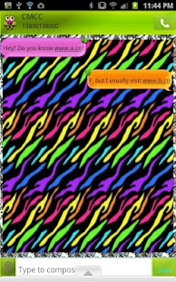 GO SMS - Zebra Rainbow Owl - screenshot
