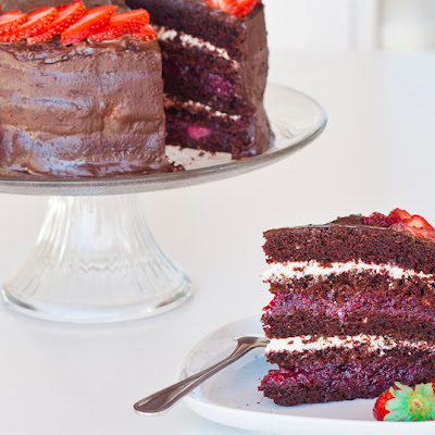 Chocolate Cake with Mixed Berry and Cream Cheese Filling