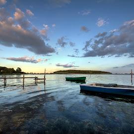 The last summer evening? by Kim  Schou - Transportation Boats ( clouds, hdr, boats, nakskov fjord, jetty, lindelse, lolland )