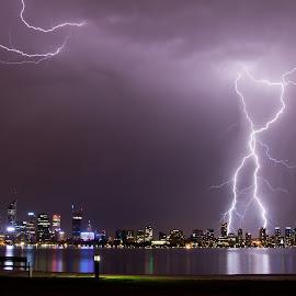 Lightning strike over the Perth CBD by Jason Abuso - City,  Street & Park  Skylines