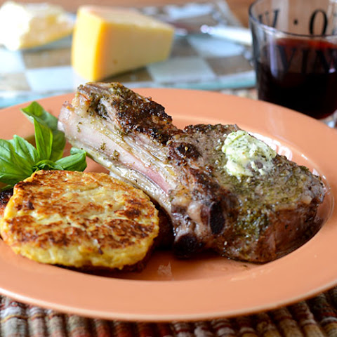 Veal Chop Topped with Pesto Butter