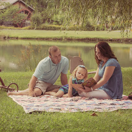 Beautiful Family by Sarah Hampton - People Family ( storybook, only child, picninc, family photos, family, lake, portrait, story time )