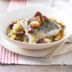 Pan-fried Hake, White Bean & Chorizo Broth