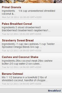 Paleo / cavemen diet recipes - screenshot
