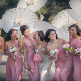 Parasol Party by Jay Andrino - Wedding Groups ( bridesmaids, los_angeles, happy, weddings, art, gowns, parasols, photographer, entourage, lighzone photography, expressions )