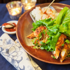 Korean Chicken Lettuce Wraps with Pickled Daikon Radish