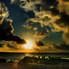 Sunrise at Tulum Beach by Cristobal Garciaferro Rubio - Landscapes Waterscapes ( clouds, rise, beach, sunrise, tulum, sun )