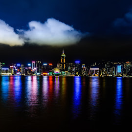 Hong Kong Island by Armando Bruck - City,  Street & Park  Skylines ( hong kong, color, night, skylines, city )