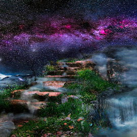 Heaven by John Georgiou - Digital Art Places ( dreaming, clouds, dreamscape, steps, paradise, milky way, fantasy, orions belt, stairs, sky, stars, roses, night, sci fi, garden, stairways, galaxy,  )