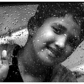 RAIN RAIN COME AGAIN..... by Baidyanath Arya - Black & White Portraits & People ( water, arya, glass, water droop, rain )