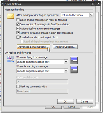 Outlook E-Mail Options