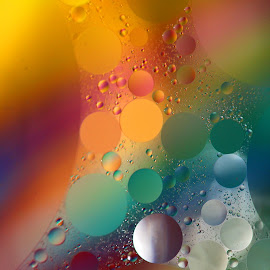 Rainbow Reflections by Janet Herman - Abstract Macro ( water, abstract, balls, macro, ellipses, floating, spheres, oil )