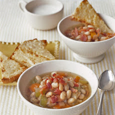 Bean and Bacon Soup with Cheese Toasts