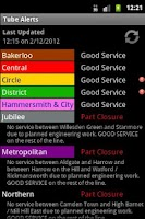 Screenshot of London Tube Alerts
