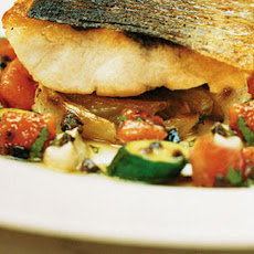 Roasted Sea Bass With Braised Fennel And Aubergine Puree