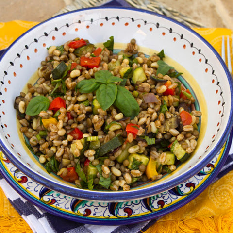 Farro Salad with Lentils, Beans and Oven Roasted Vegetables