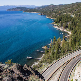 Lovely Lake Tahoe by Trevor Fairbank - Landscapes Travel ( highway, blue, cave rock, lake, pine trees, lake tahoe )