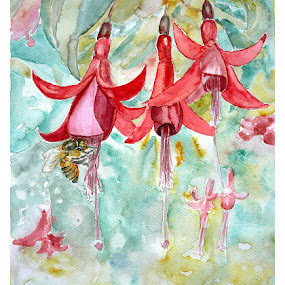 Fuchsia by Jasna Dragun - Painting All Painting ( watercolor, impressions, nature, beauty, flower )