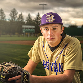 Baseball time by Paul Zeinert - People Portraits of Men ( north american, bryan, field, ohio, high school, baseball, glove, usa, portrait, senior )