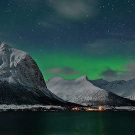 Aurora over godfjord by Marius Birkeland - Landscapes Mountains & Hills ( mountains, sky, northern lights, aurora borealis, aurora )