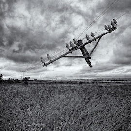 Broken telephone by Peter Primich - Landscapes Prairies, Meadows & Fields ( black & white, moody, surreal, landscape, telephone pole )