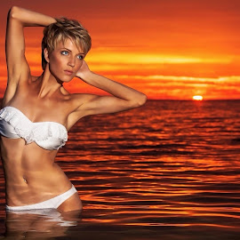 Stunning sunset  by Terrence Credlin - People Portraits of Women ( white bikini sunset,  )