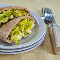 Egg Salad in Pita with Green Olives, Green Onions, and Dijon