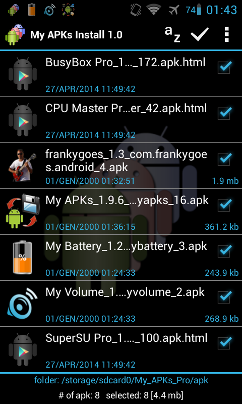 My APKs Install restore apps Screenshot 0
