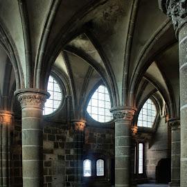 Mont Saint Michel interior 13 by Anita Berghoef - Buildings & Architecture Public & Historical ( interior, ancient, church, arches, monastery, windows, pillar, france, architecture, pillars, mont saint michel )