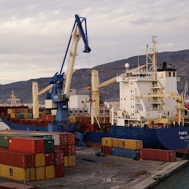 Volos Trans-Ship by Donald Henninger - Transportation Other ( port, technology, moving, ship, greece, sony alpha, equipment, transportation, travel, dock, container, crane, industry )
