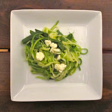Roasted Julienne Zucchini Salad with Green Onions, Feta and Basil