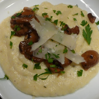 Creamy Mascarpone Polenta with Mushrooms Gravy