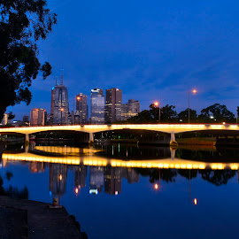Melb by night by Donald Cain - City,  Street & Park  Night