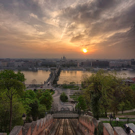 Sunrise at Buda Castle by Dénes Kiss - City,  Street & Park  Vistas