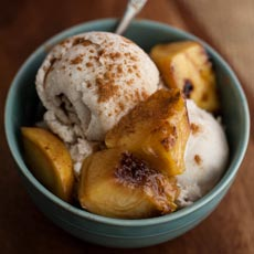 Grilled Peaches with Vegan Cinnamon Ice Cream