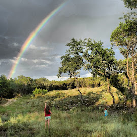 Life pauses when there's a rainbow in the backyard by Kelley Ahr - Instagram & Mobile iPhone ( vscocam, atx, austin, rainbow, hillcountry )