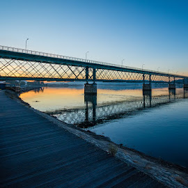 by Rossana Ferreira - Buildings & Architecture Bridges & Suspended Structures ( water, river lima, week 7, sunrise, bridges, 5 out of 7, viana do castelo, riverbank )