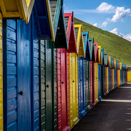 Primary  Colours by Donna Brittain - Buildings & Architecture Other Exteriors ( yorkshire, rentals, beach huts, whitby uk, beach, cityscape, landscape )