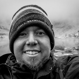 High Elevation lake Selfie by Greg Head - Novices Only Portraits & People ( tree, black and white, snow, lake, portrait )