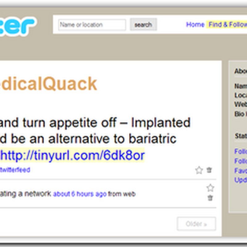 Medical Quack Via Twitter Feeds