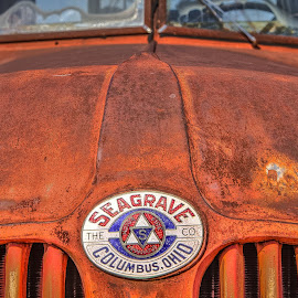 Seagrave Fire Truck Hood by Ron Meyers - Transportation Automobiles