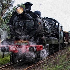 Thirlmere Fly by Anthony Rutter - Transportation Trains ( train tracks, festival of steam, vintage, train, thirlmere flyer, black, steam )