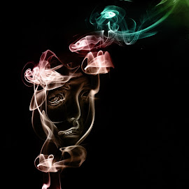 Ghost by Emilie Filrouge - Digital Art Things ( doll, strobist, colors, smoke, photoshop )
