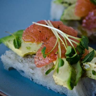 Avocado And Grapefruit Tea Sandwiches With Honey Lime Vinaigrette